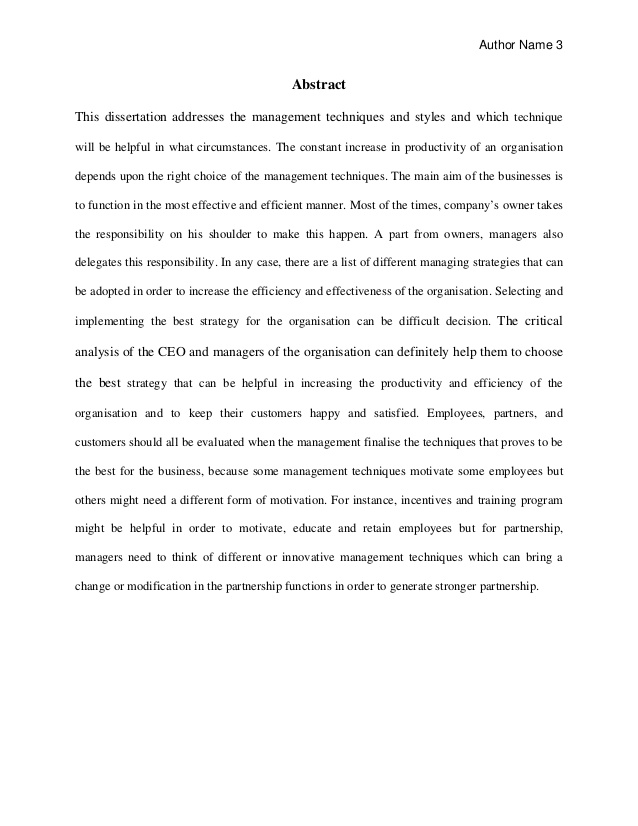 Abstract Dissertation Online
